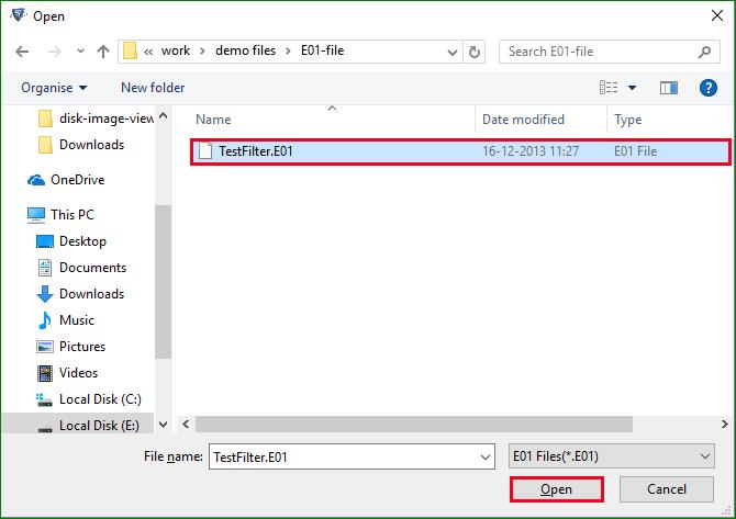 Browse and Choose E01 file