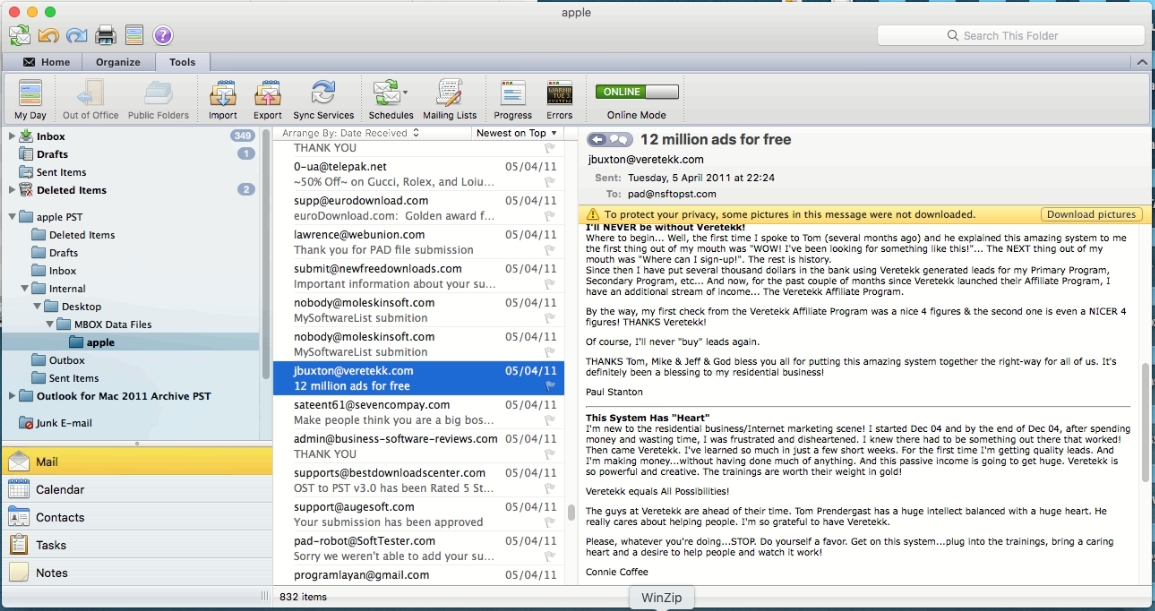 import pst in mac outlook